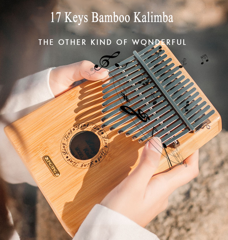 17 Keys Bamboo Finger Mbira Kalimba Keyboard Thumb Pocket Piano