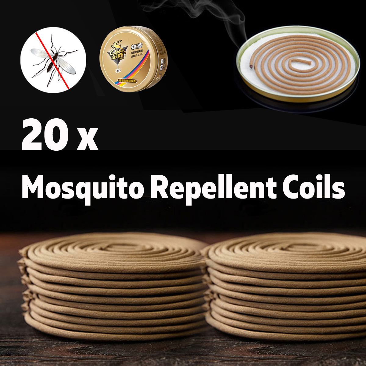 20Pcs Outdoor Mosquito Repellent Coils Incense Spirals Insect Bug Killers Mosquito Dispeller
