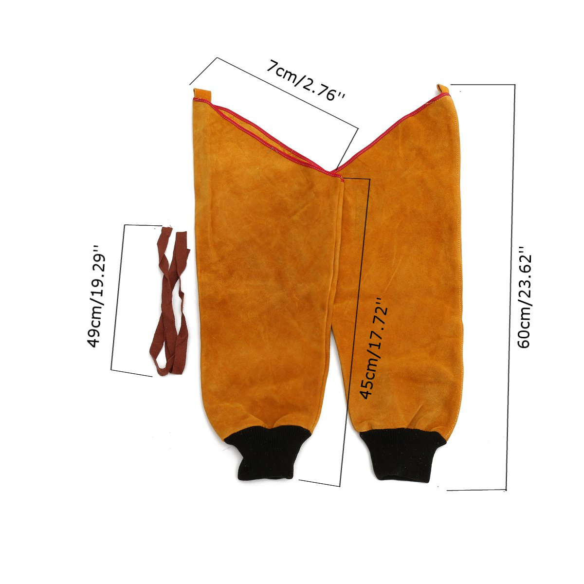 1 Pair Cow Leather Welding Sleeves with Elastic Cuff Protect Welder Leather Sleeves