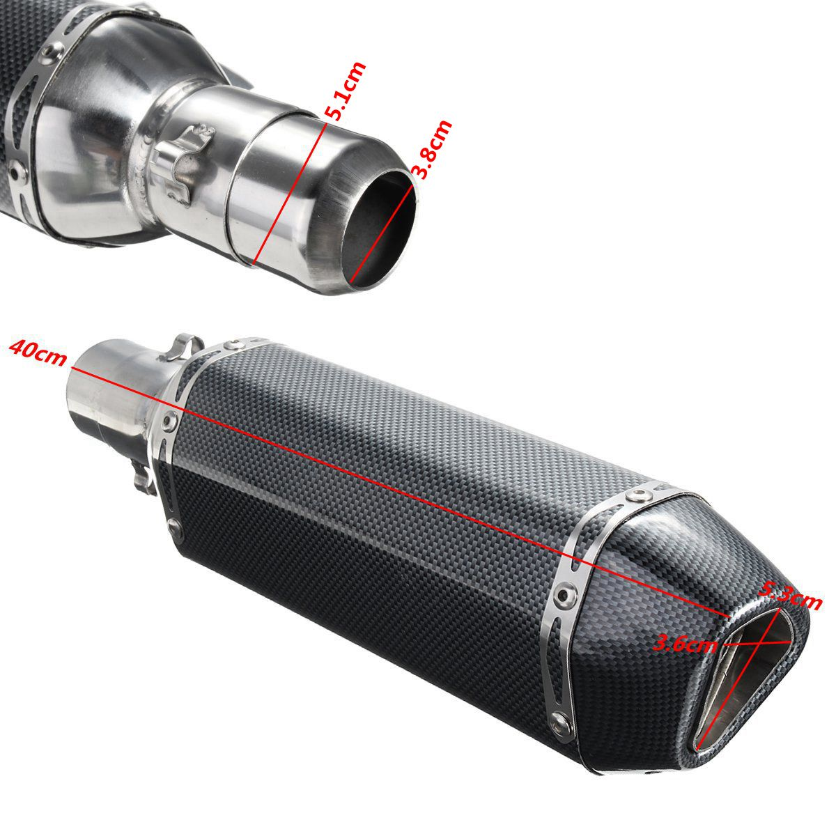 38-51mm Universal Stainless Steel Motorcycle Carbon Fiber Exhaust Muffler Pipe