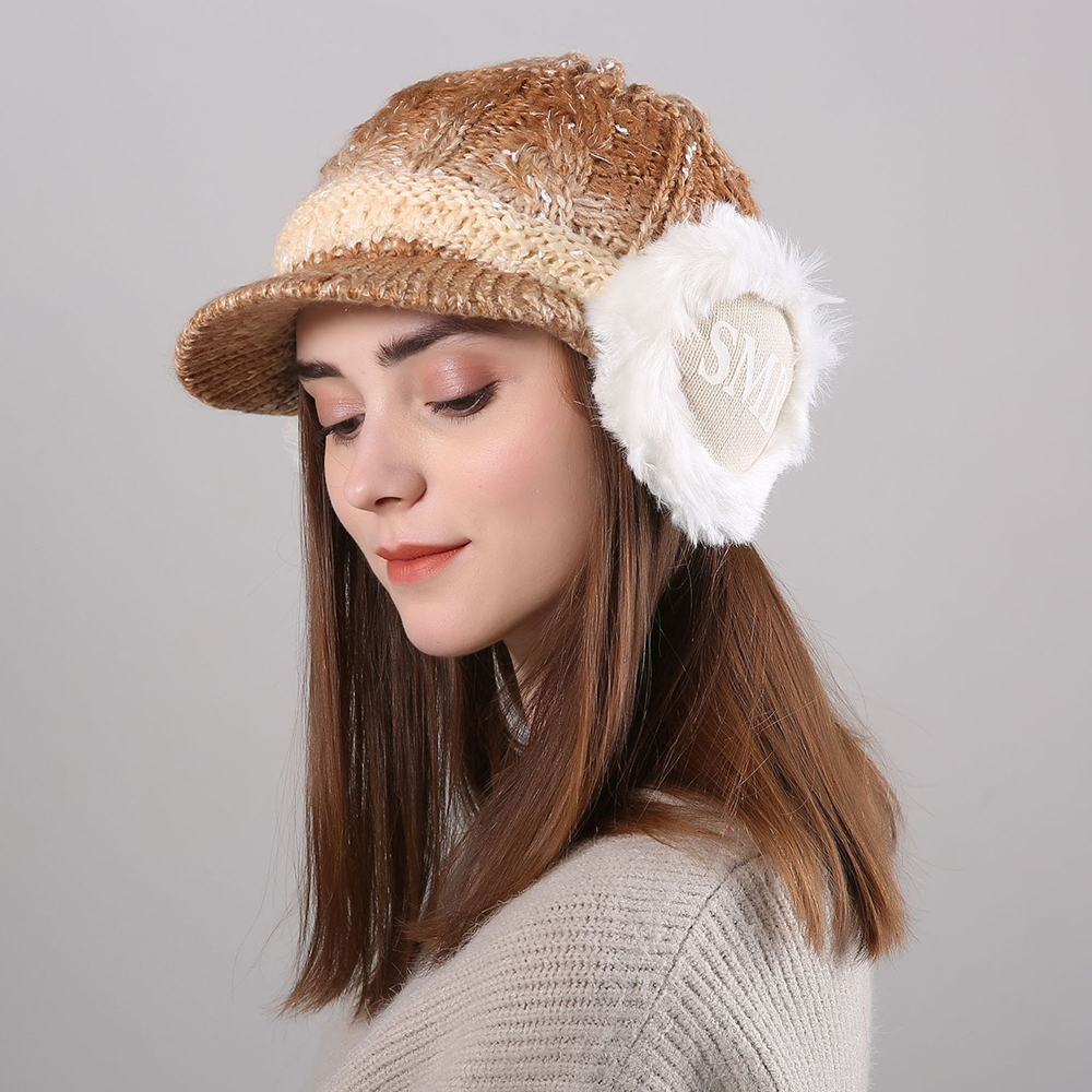 Women Winter Thickened Gradient Knitted Hat Earmuffs Beret