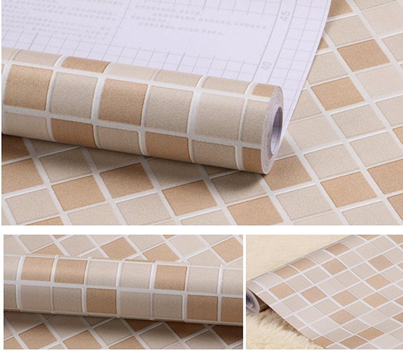 Self-adhensive Mosaic Stickers Bathroom Wall Stickers Home Decor Wallpaper Bathroom Kitchen DIY Plain Design