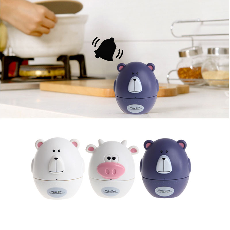 Fashion Design Bear Cow Timer Mechanical Wind Up 60 Minutes Kitchen Gadget Mechanical Alarm Timer