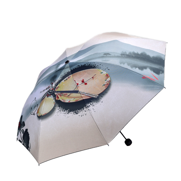 LYZA Hand-painted Colorful 3 Folds Rain Umbrella Sun Umbrella Foldable Sunscreen Umbrella