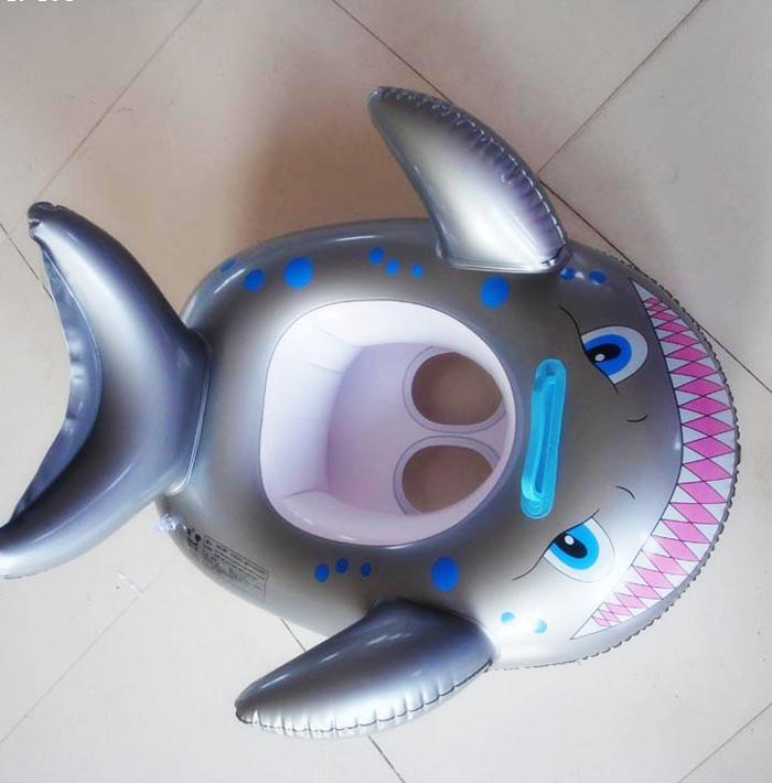 IPRee Shark Shaped Swimming Ring Kids Baby Children Inflatable Swim Pool Seat Float Boat
