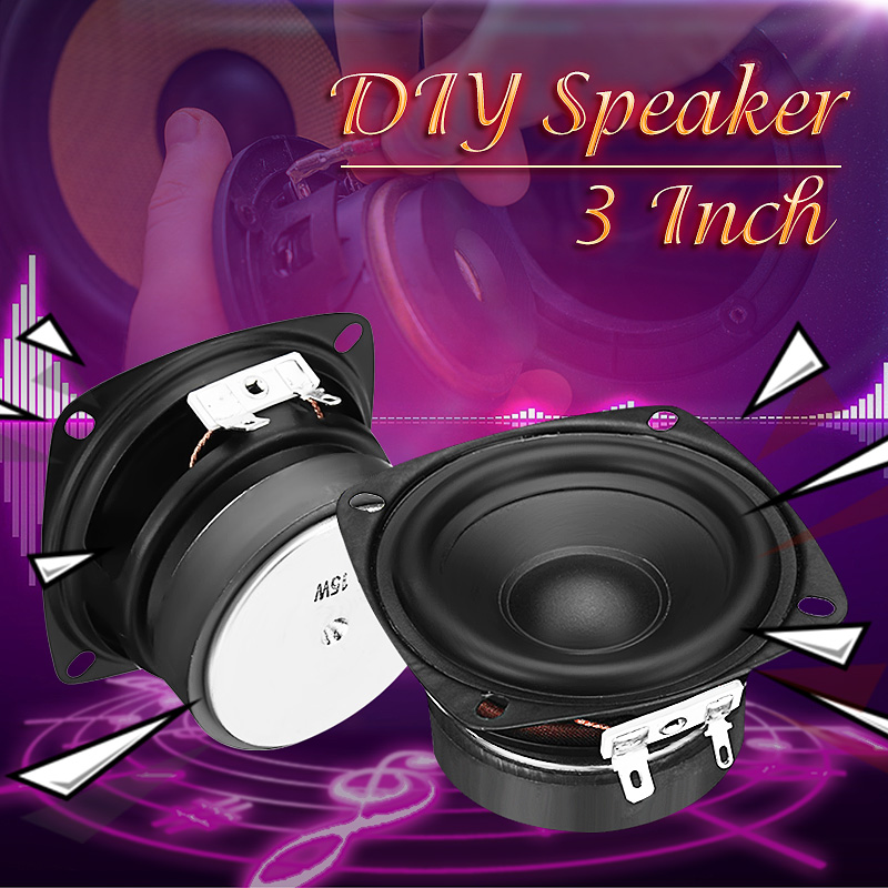 3Inch Round Tweeter Speakers 3 Inch Square 4Ω Full-range Speaker 78mm for DIY Loudspeaker Box