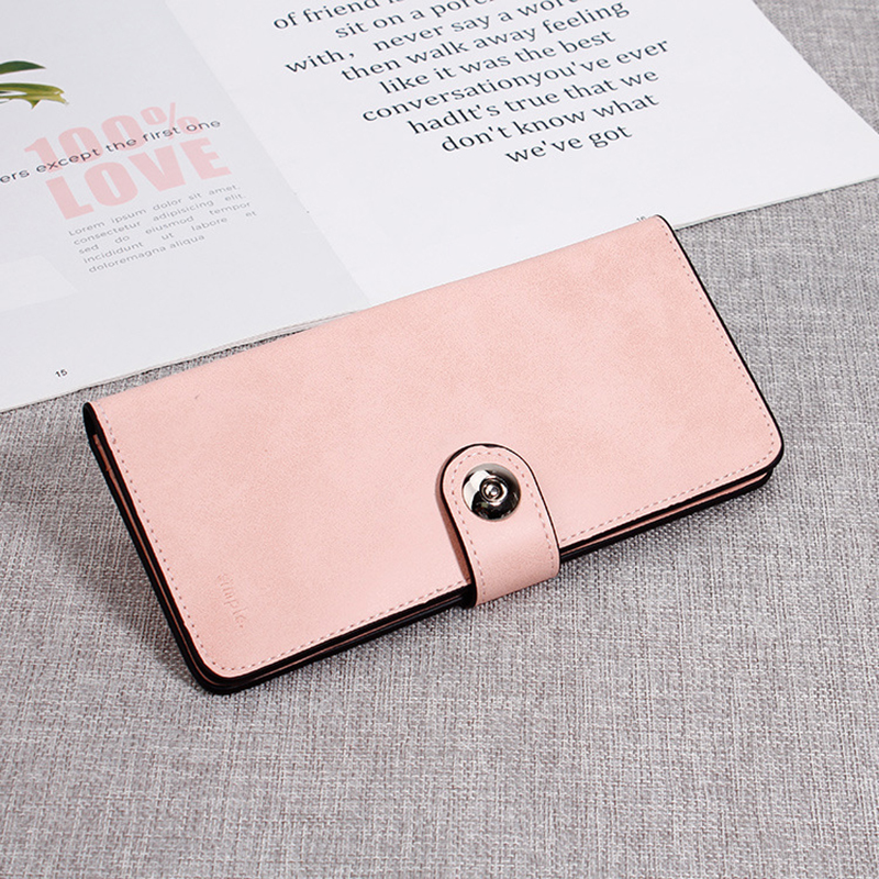 Women Pure Color Long Wallet Simple Purse Card Holder