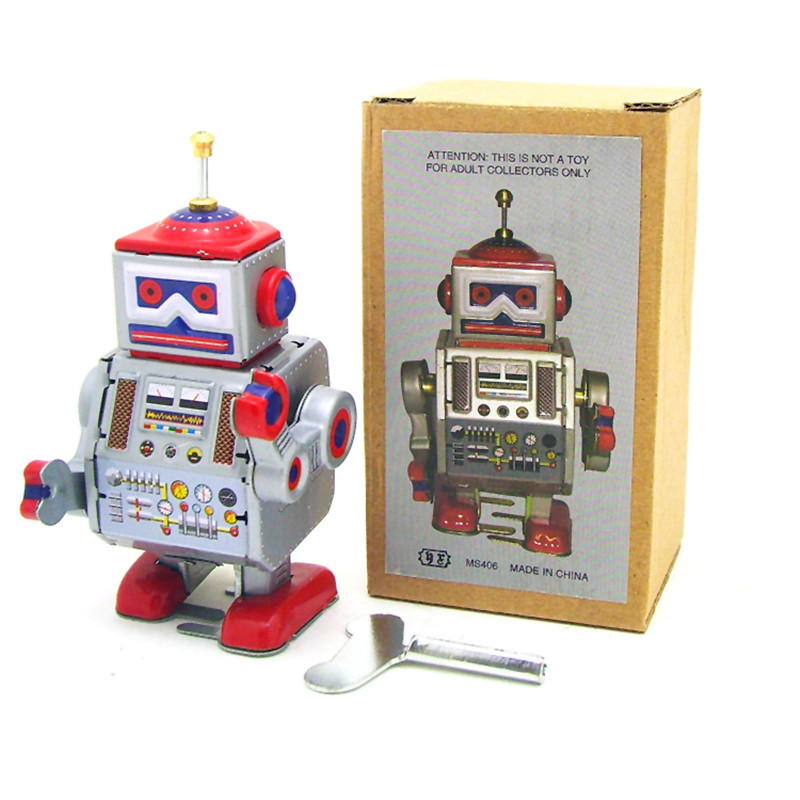 Classic Vintage Clockwork Wind Up Robot Kids Children Reminiscence Tin Toys With Key