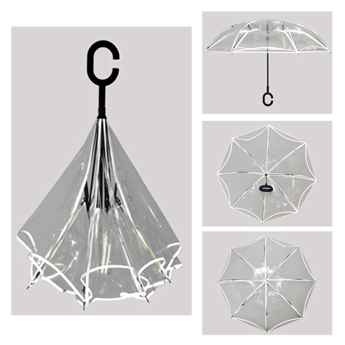 Reverse Umbrella Flowers Creative Double Layers Upside Down Self Standing Car Rain Gear