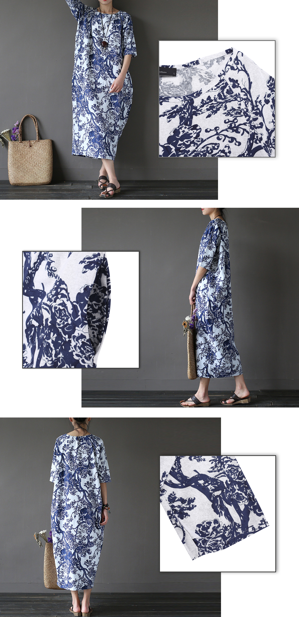 Retro Women Floral Printed Short Sleeve Loose Maxi Dresses