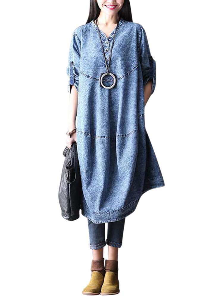 L-5XL Casual Women Imitation Denim Dress
