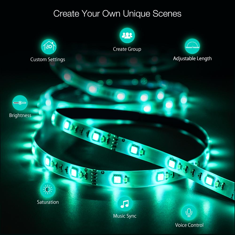 BlitzWolf® BW-LT11 2M/5M Smart APP Control RGBW LED Light Strip Kit or 1M Strip Light Extension Plus