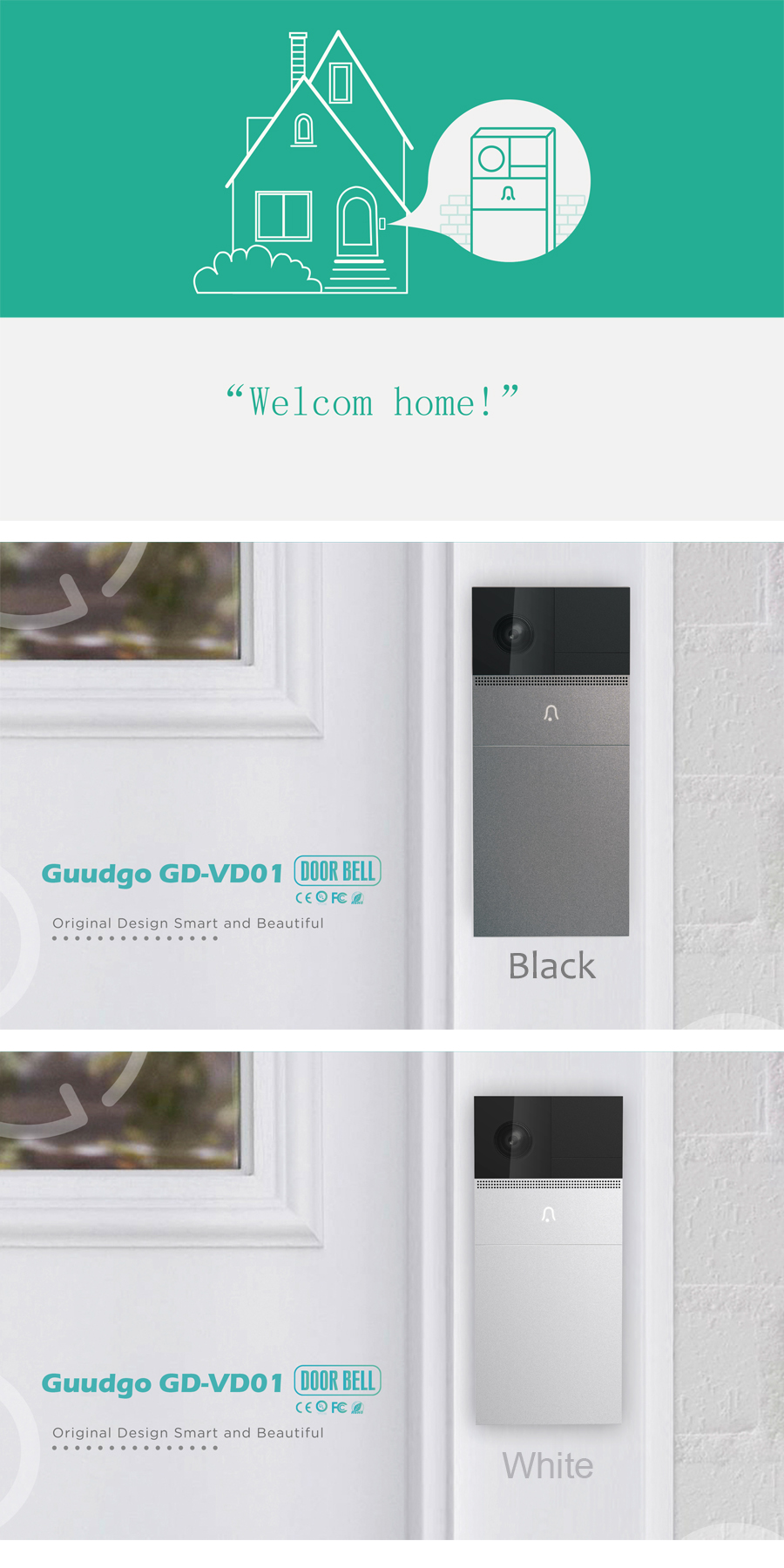 GUUDGO GD-VD01 Wireless Wifi Remote Waterproof Video Doorbell Camera Phone Visual Intercom Home Security Low Power Consumption 10 Months Standy Time