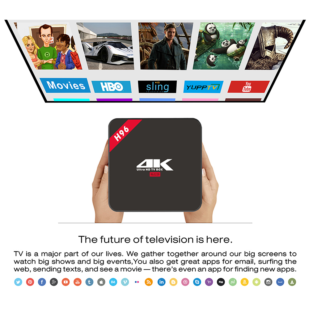 H96 RK3229 Quad Core 1GB DDR3 RAM 8GB ROM TV Box