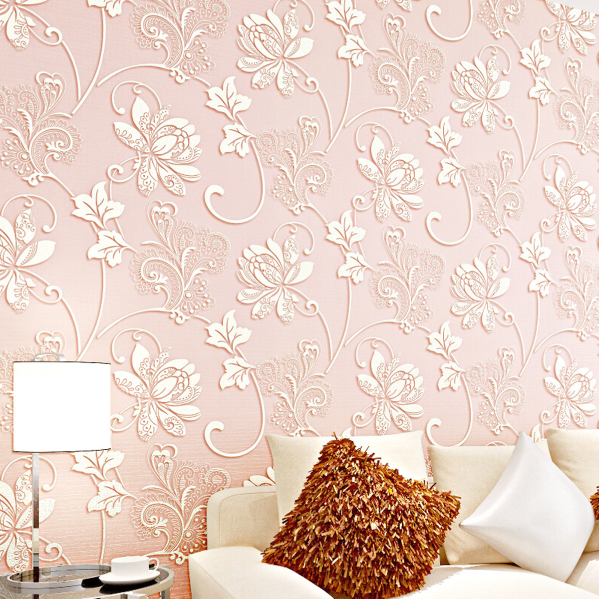 10M Concave-convex Wallpapers 3D Embossed Textured Non-woven Flocking Wallpaper Rolls