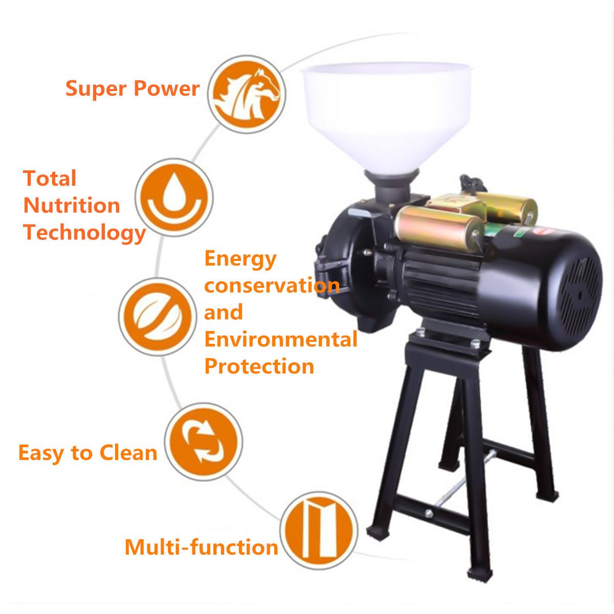 220V 1500W Electric Mill Wet Dry Grinder Powdering Machine For Corn Grain Rice Wheat