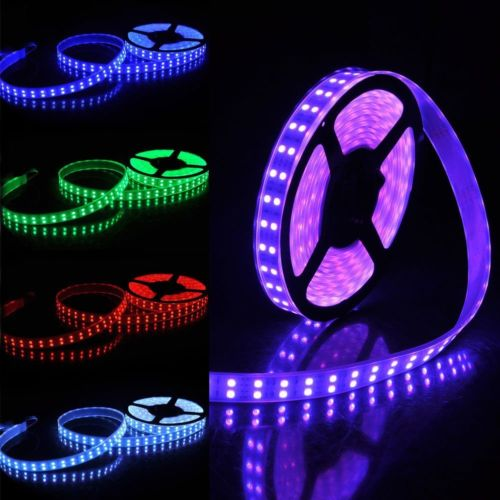 5M RGB SMD5050 Waterproof 600 LED Double Row Tube Flexible Strip Light Rope Lamp DC12V