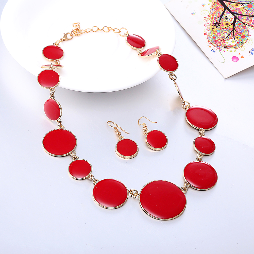 Elegant Jewelry Set Red Enamel Round Flat Shape Necklace Earrings Wholesale Women Jewelry