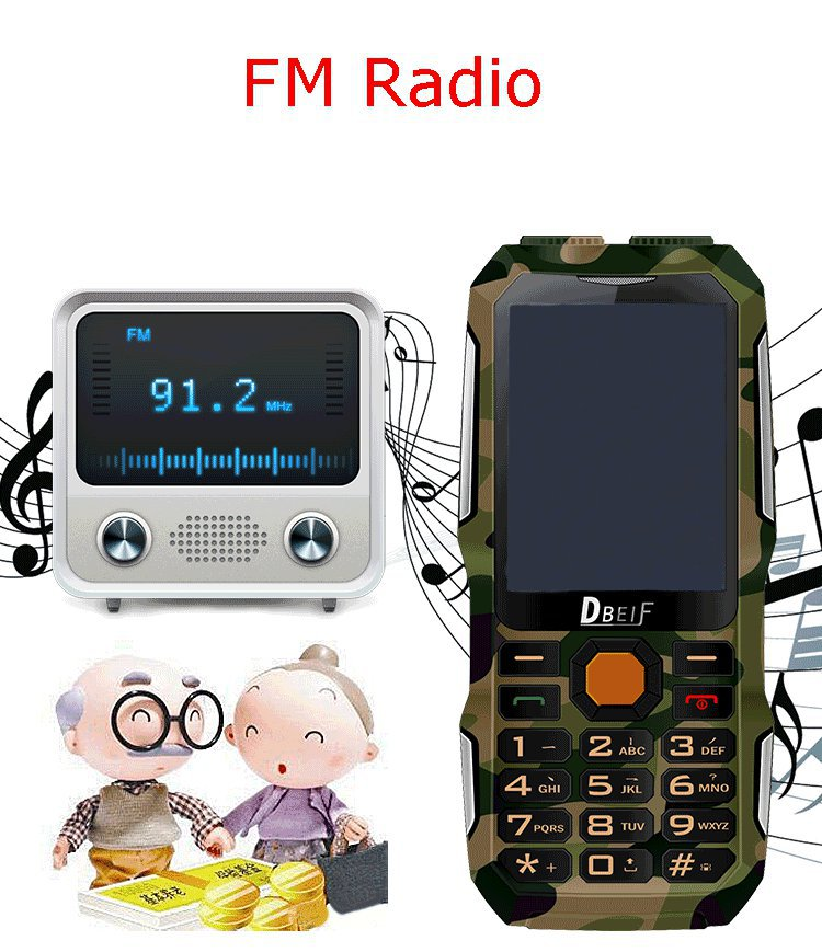 DBEIF D2016 2.8 inch 3000mAh Magical Voice Military Antenna Analog TV Dual Flashlight feature Phone