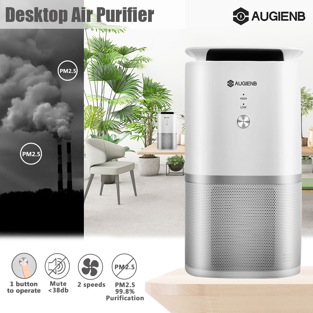 AUGIENB A-DST02 Air Purifier HEPA Active Carbon Filter No Ozone Odour PM Eliminator Air Purification Health Air For Home Kitchen Bathroom