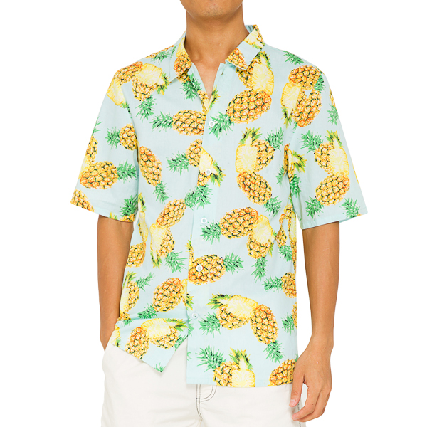 Mens Plus Size Hawaiian Pineapple Printing Loose Beach Shirt