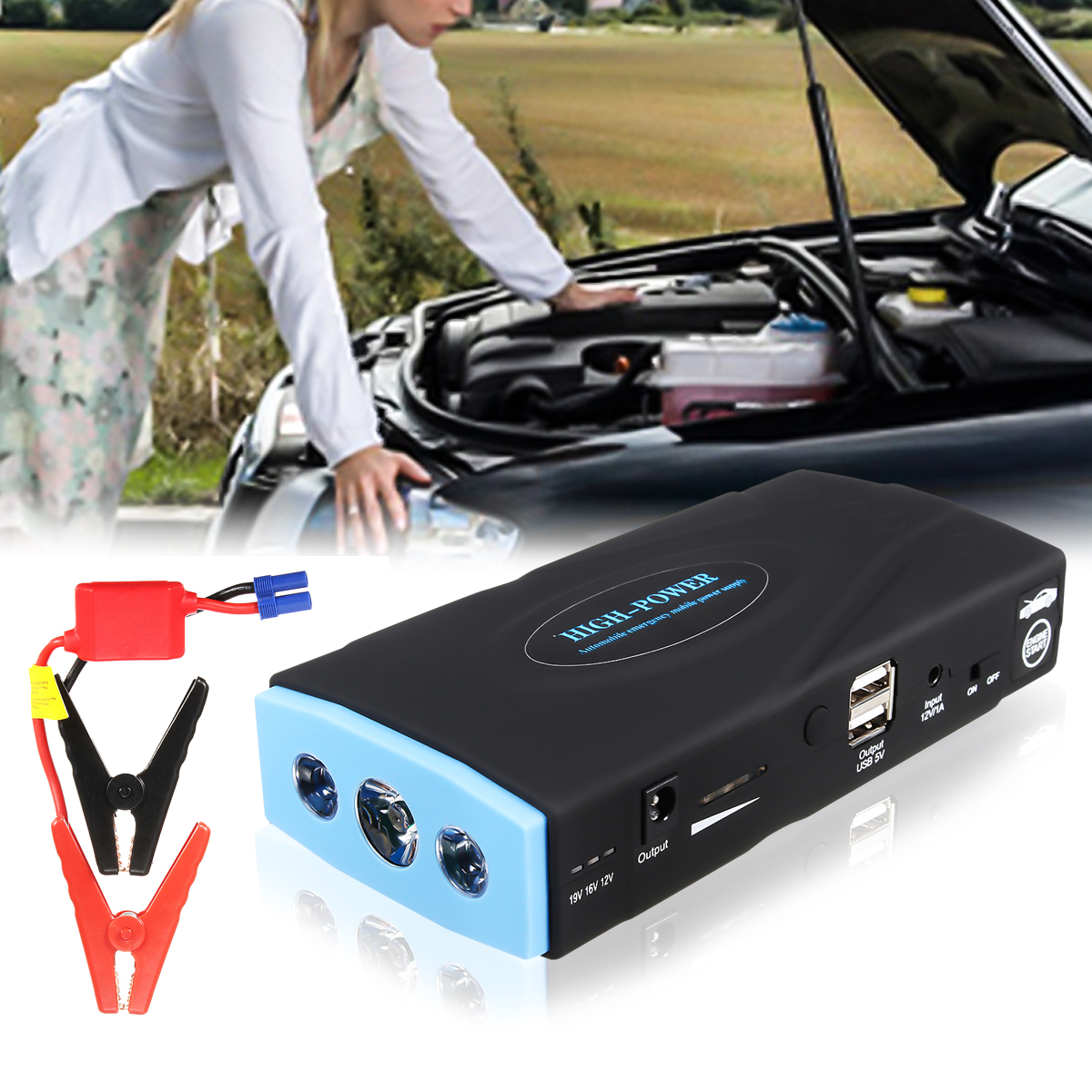 12000mAh 12V Car Portable Jump Starter Emergency Power Supply Power Bank Battery Charger