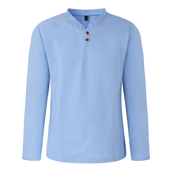 Mens Spring Casual Linen V-neck Collar Long Sleeve T-shirt Fashion Solid Color Tops