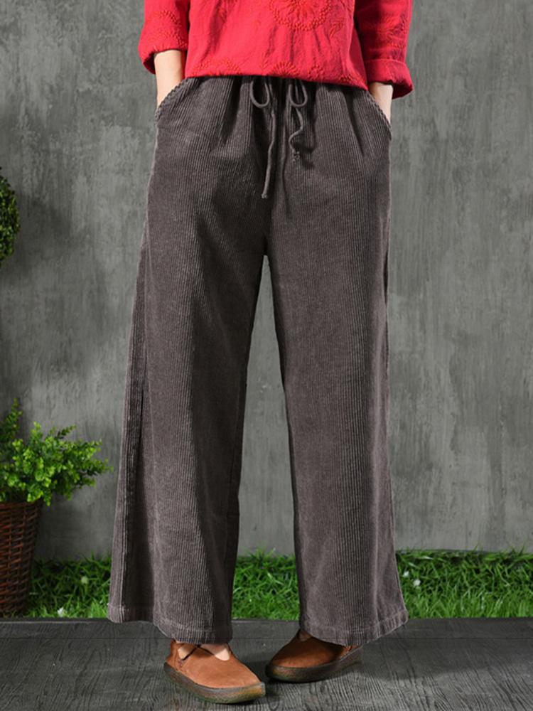 Women Drawstring Elastic Waist Corduroy Wide Leg Pants