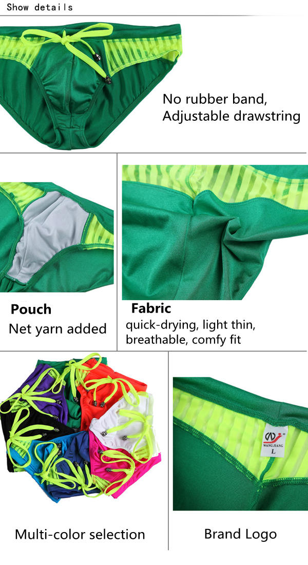 Summer Sexy Net Yarn Stitching Quick Drying Hotsprings Swimsuits Trunks Men Bikini Briefs