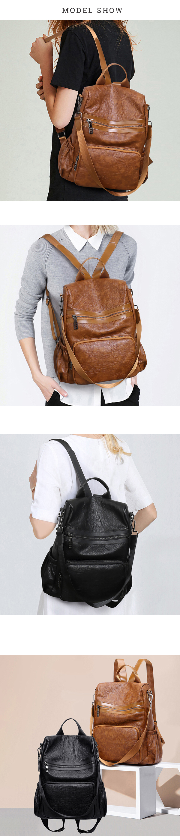Women Genuine Leather Multifunction Handbags Soft Backpack