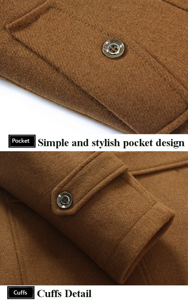 Mens Casual Woolen blend Single-breasted Trench Coat Turn-down Collar Slim Fit Long Coat