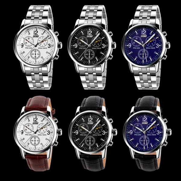 SKMEI 9070 Fashion Men Quartz Watch Casual Steel Business Wristwatch