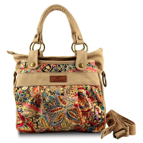 Women Canvas Retro National Style Tote Handbag Shoulder Bag