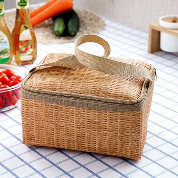 Travel Picnic Lunch Bag Imitation Rattan Brazier Cooler Insulated Tote Handbag
