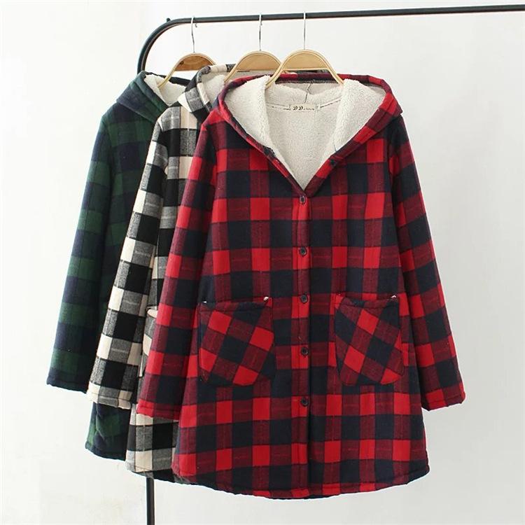 Winter Women Cashmere Warm Long Sleeve Plaid Shirt