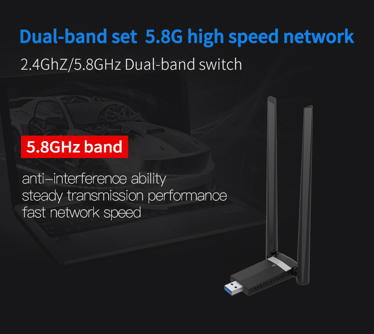 1200Mbps 2.4G/5.8GHz Wireless USB Dual 5 dbi Antennas Networking Adapter Card Wifi Network Card