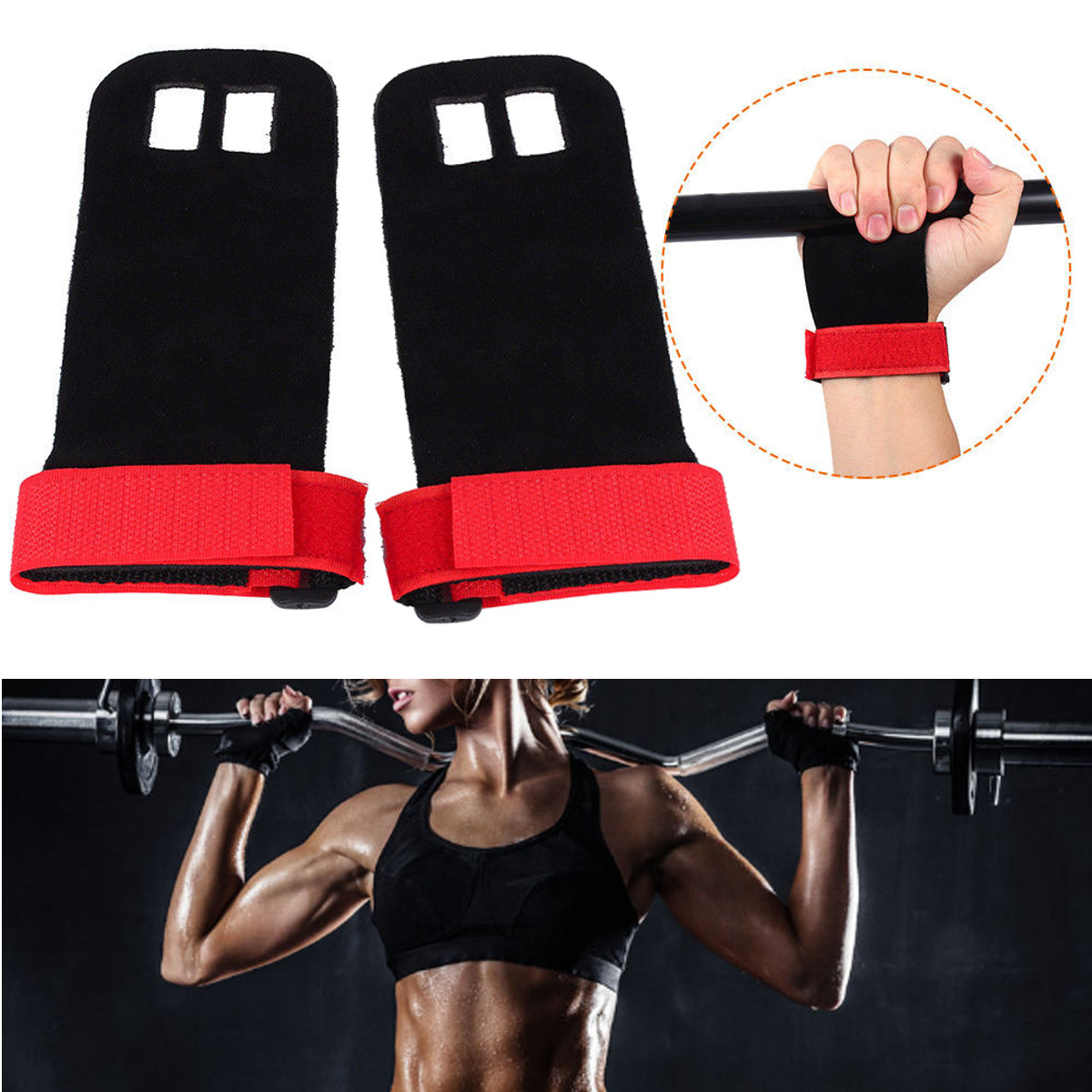 1Pair Crossfit Grips for Weight-lifting Gymnastics Leat