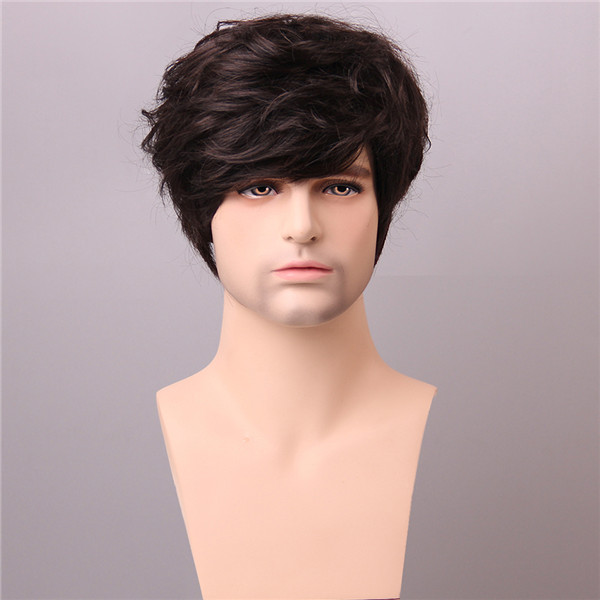 Men Medium Brown Male Short Human Hair Wig Side Bang Mo