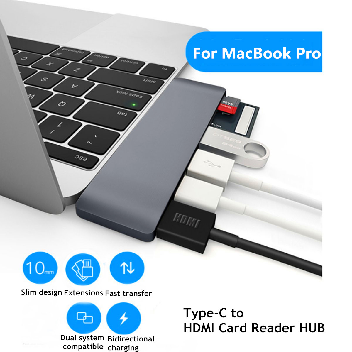Type-C to USB3.0 Type-C 4K*2K Display Hub SD TF Card Reader Adapter For MacBook Pro