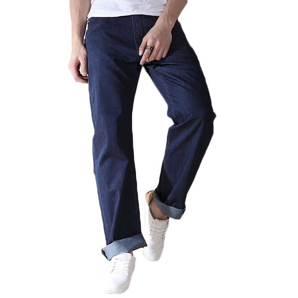 Plus Size 30-48 Loose Straight Leg Basic Long Jeans for Men