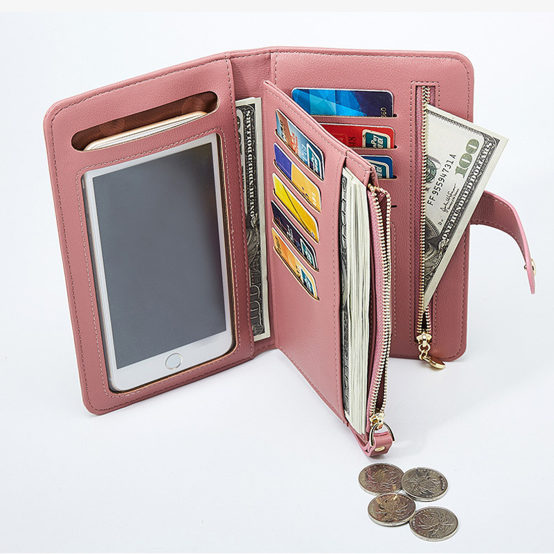 Women PU Touch-Screen Phone Bag Cluth Wallet Coin Bag