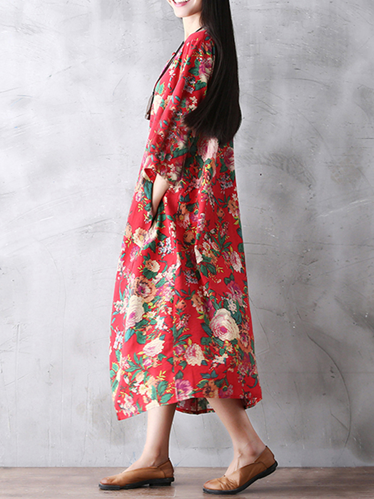 Floral Printed Loose Pocket Long Sleeve Women Maxi Dress