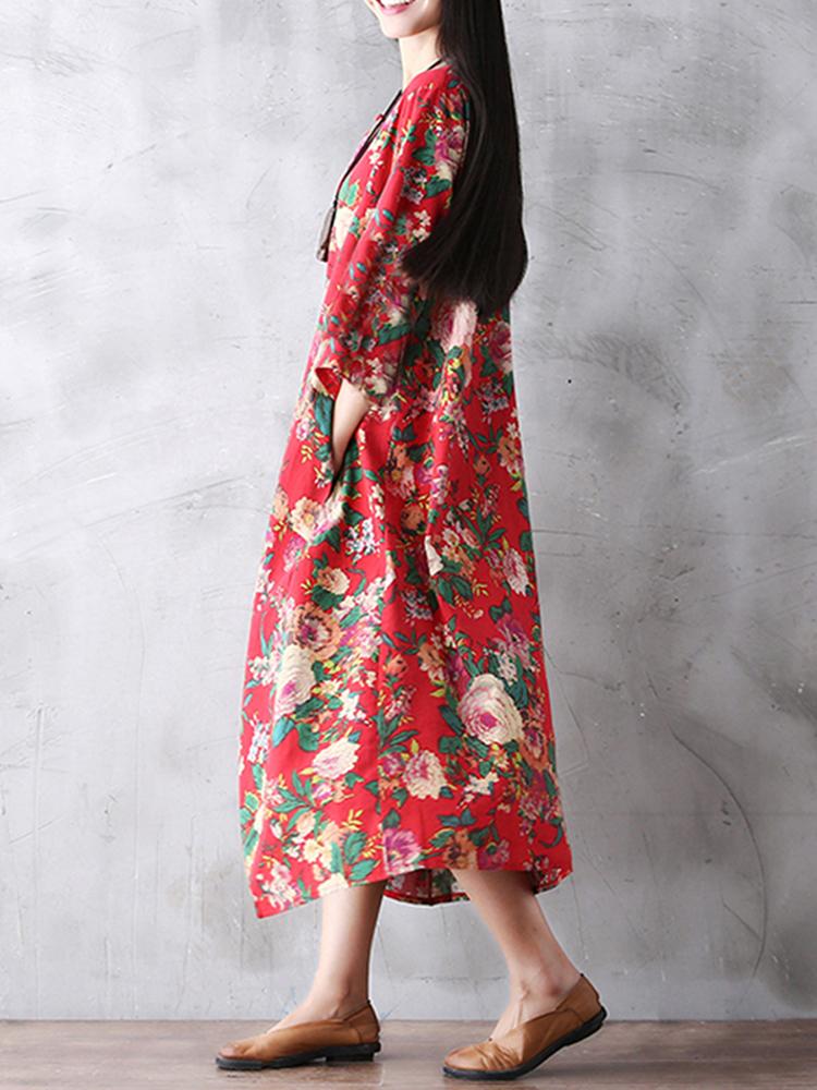 Gracila Floral Printed Loose Pocket Long Sleeve Women Maxi Dresses