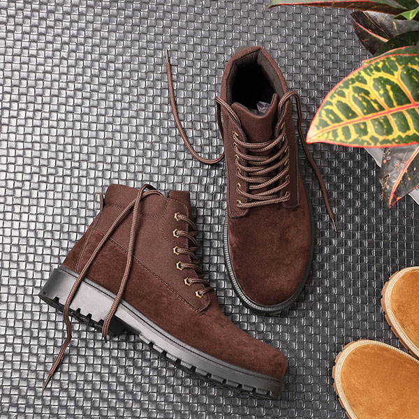 Men Comfortable Canvas Suede High Top Boots