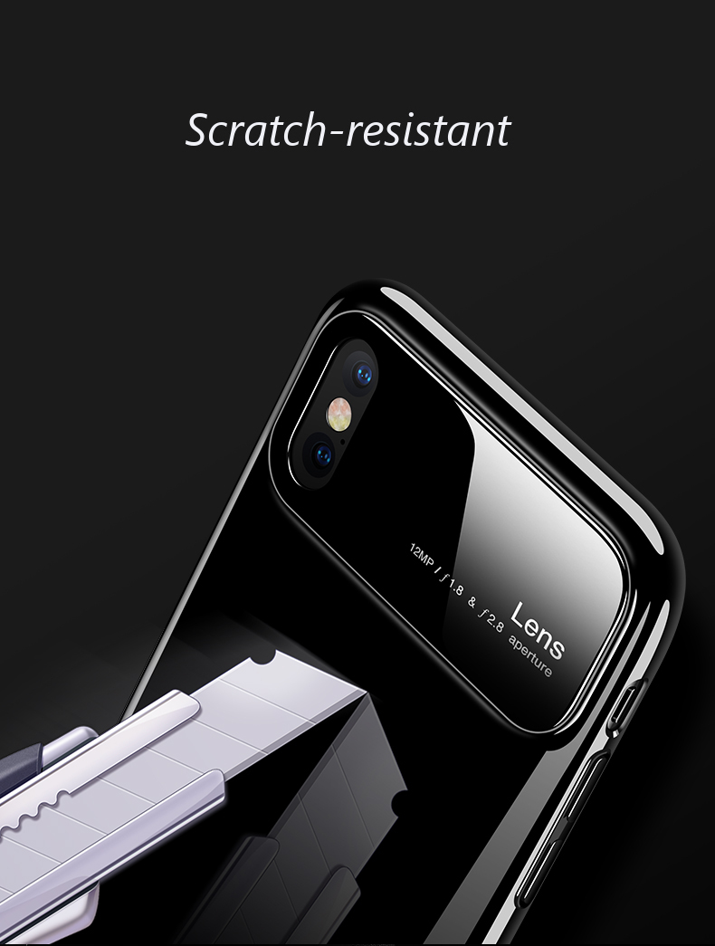 Bakeey Tempered Glass Lens Hard PC Glossy Protective Case for iPhone X