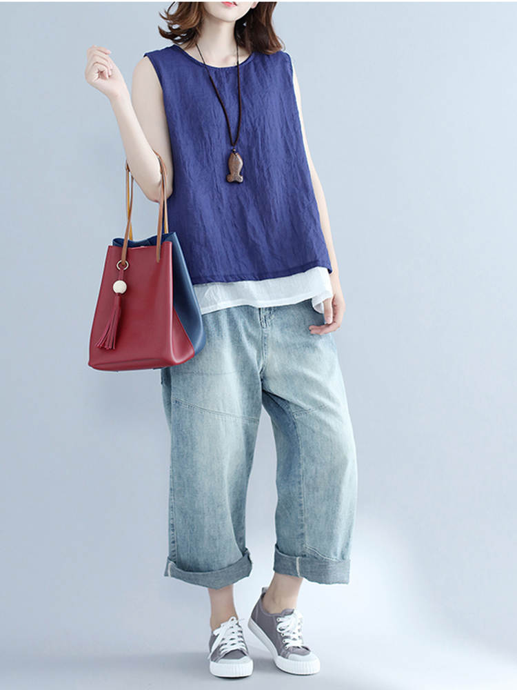 Fashion Sleeveless Pure Color Linen Women Tank Tops