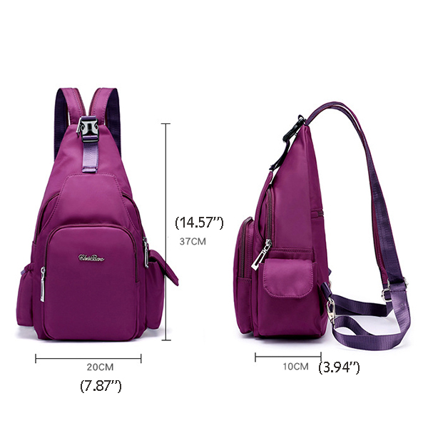 Women Multi-purpose Nylon Backpack Buckle Chest Bag Shoulder