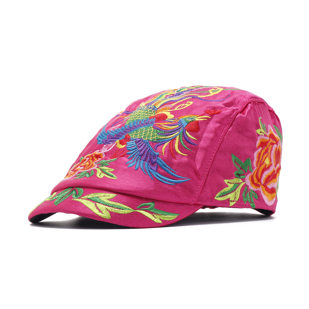 Womens Vintage Ethnic Floral Embroidery Beret Hat