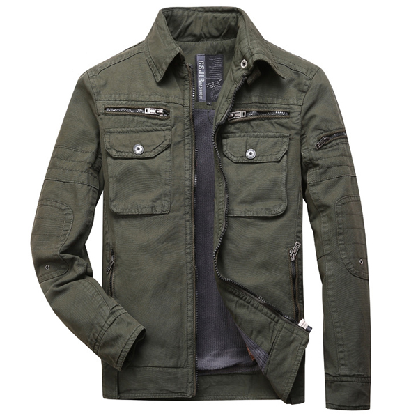 Mens Thick Warm Coat Cusual Multi-pocket Cotton Shirt Jacket