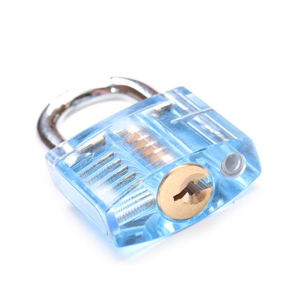 DANIU 5Pins Blue Transparent Pick Cutaway Visable Inside View Padlock Lock for Locksmith Practice Training